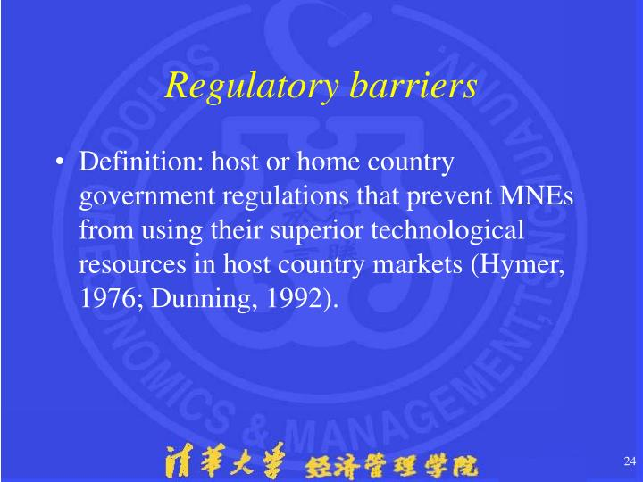 Regulatory barriers