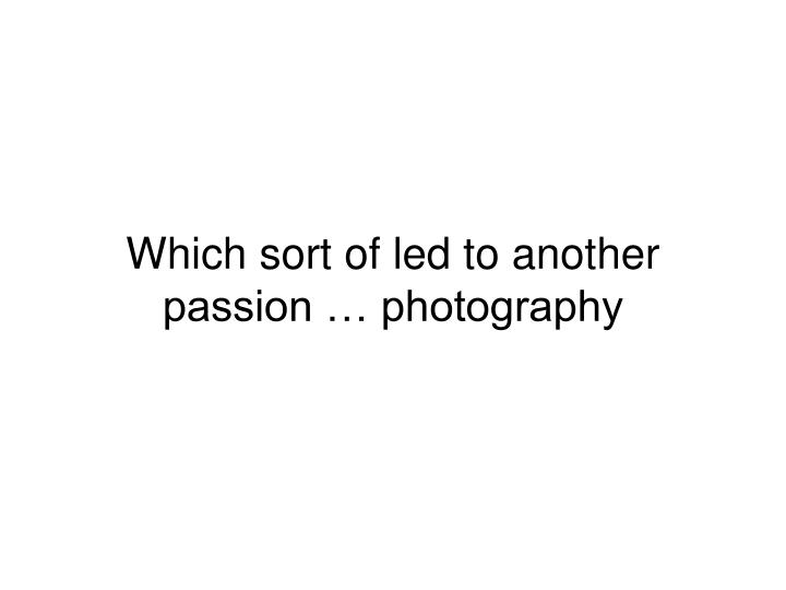 Which sort of led to another passion … photography