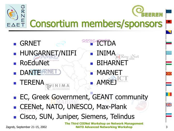 Consortium members/sponsors