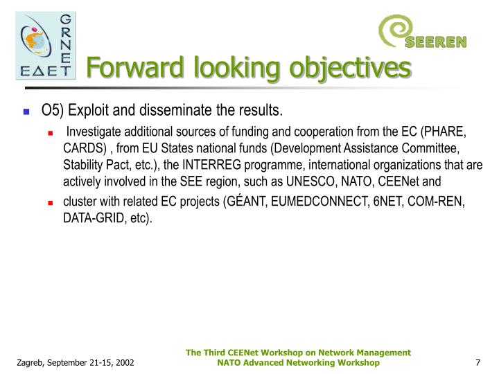 Forward looking objectives