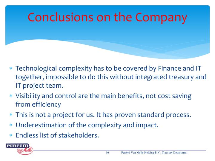Conclusions on the Company