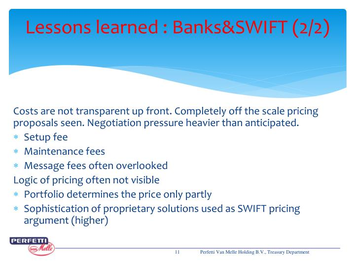 Lessons learned : Banks&SWIFT (2/2)