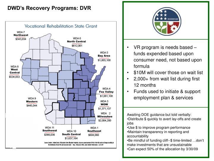 DWD's Recovery Programs: DVR