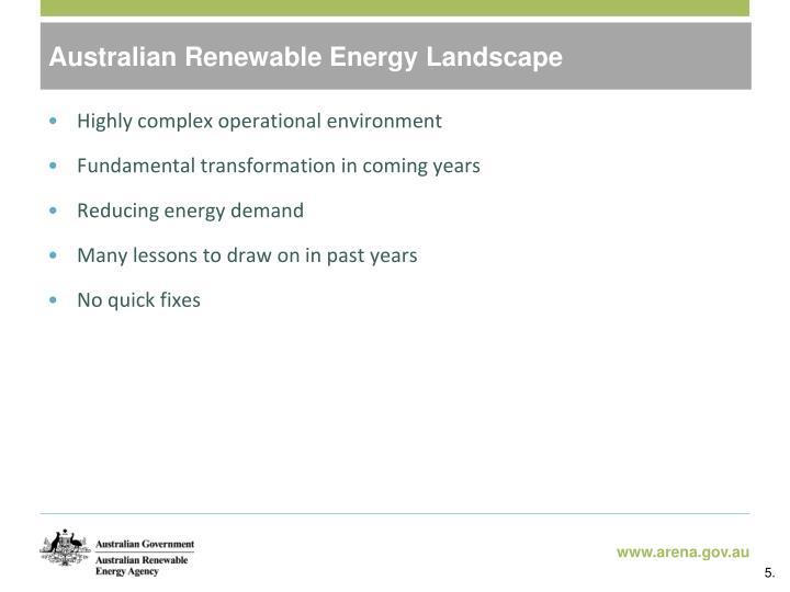Australian Renewable Energy Landscape