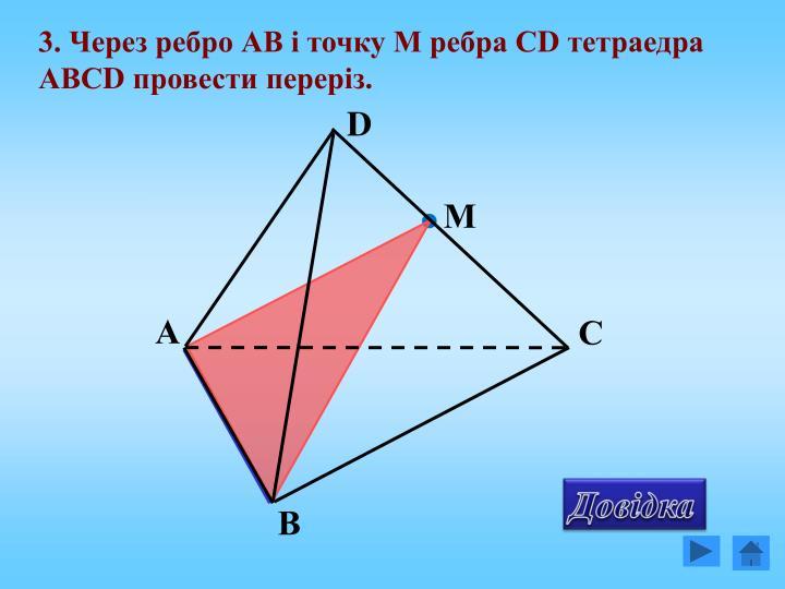 3. Через ребро АВ і точку М ребра С