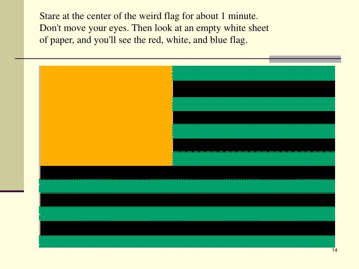 Stare at the center of the weird flag for about 1 minute.