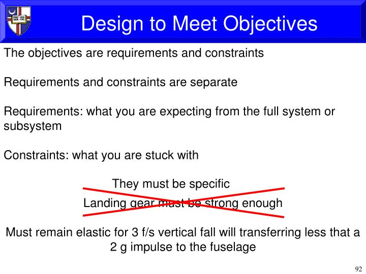 Design to Meet Objectives