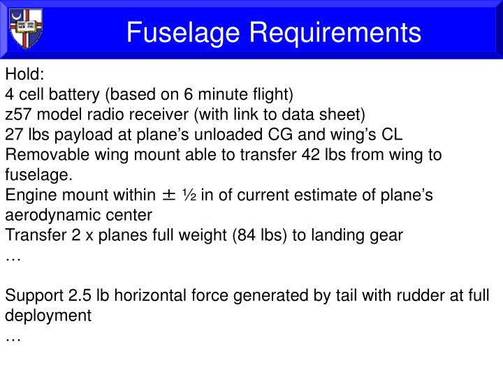 Fuselage Requirements