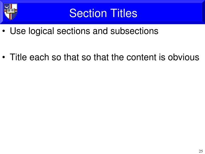 Section Titles
