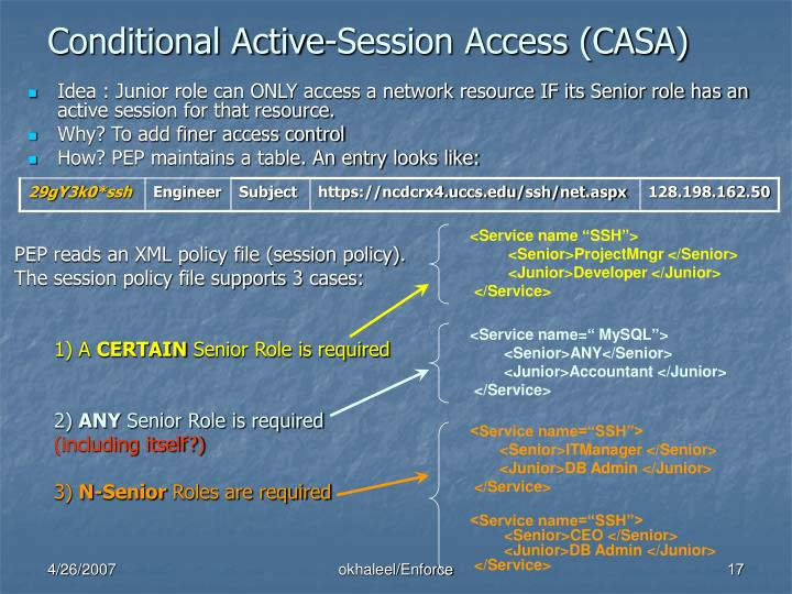 Conditional Active-Session Access (CASA)