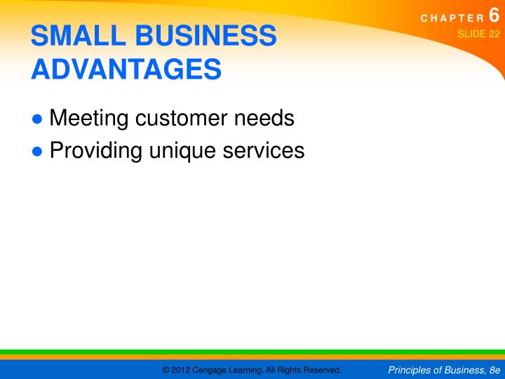 small business advantages Another small business advantages is the approach at small businesses is cordial they are warm and friendly towards their customers, and often know them by name customers are usually on personal terms with employees and the business' owner.
