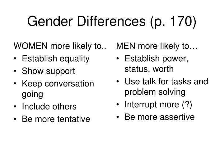 Gender Differences (p. 170)