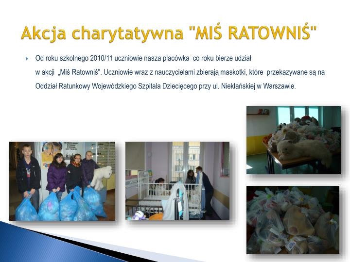 """Akcja charytatywna """"MIŚ RATOWNIŚ"""""""
