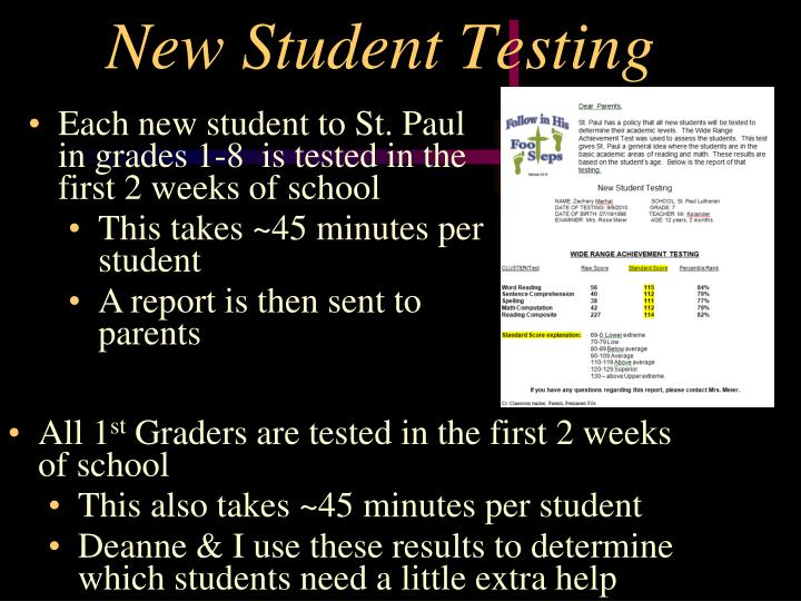 New Student Testing