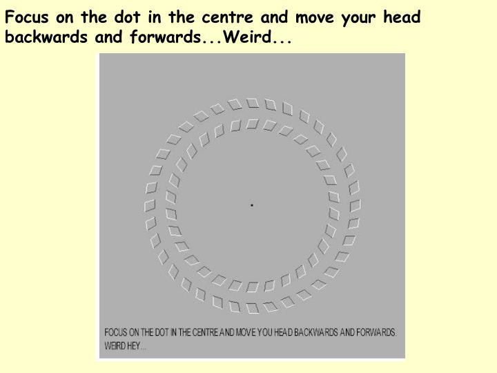 Focus on the dot in the centre and move your head  backwards and forwards...Weird...