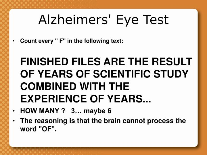 Alzheimers' Eye Test