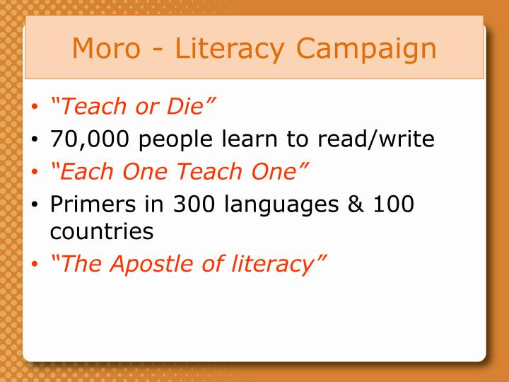 Moro - Literacy Campaign