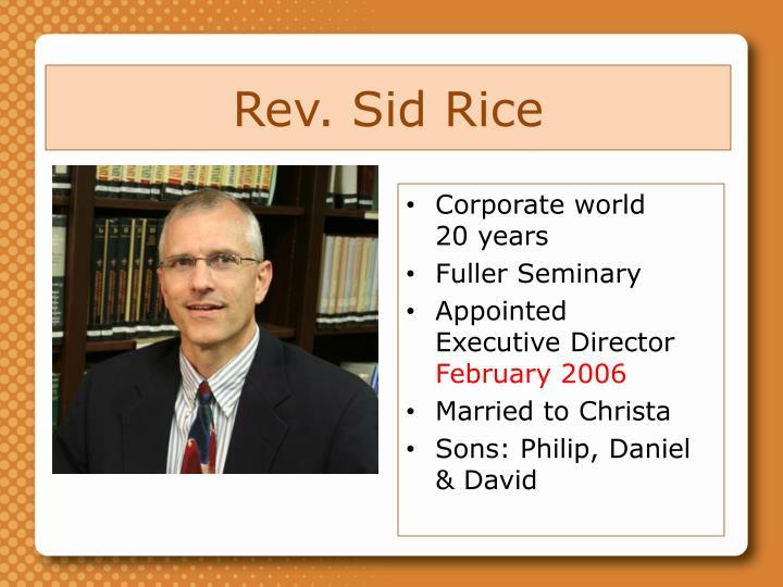 Rev. Sid Rice