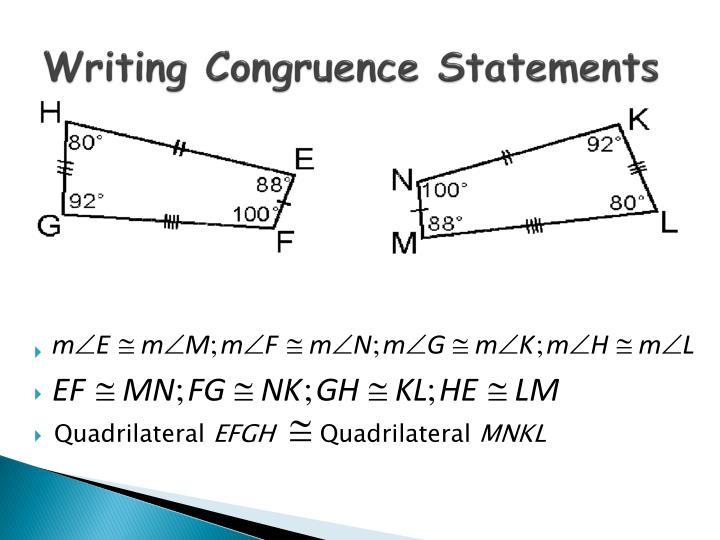 Writing Congruence Statements