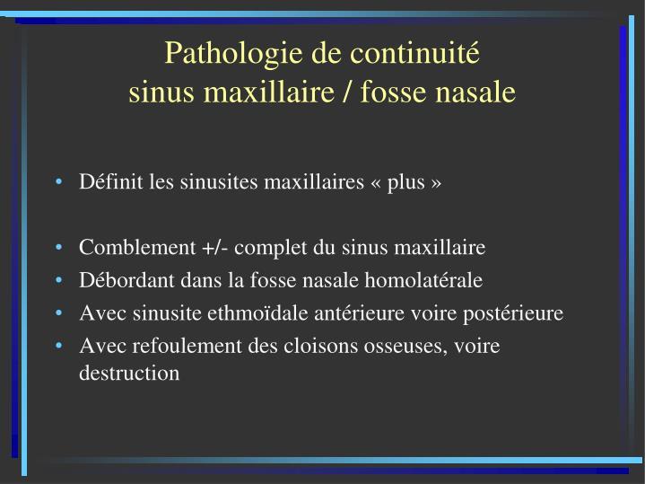 Pathologie de continuité