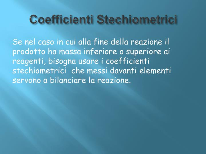 Coefficienti Stechiometrici