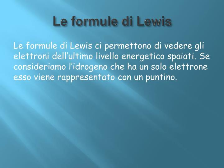 Le formule di Lewis