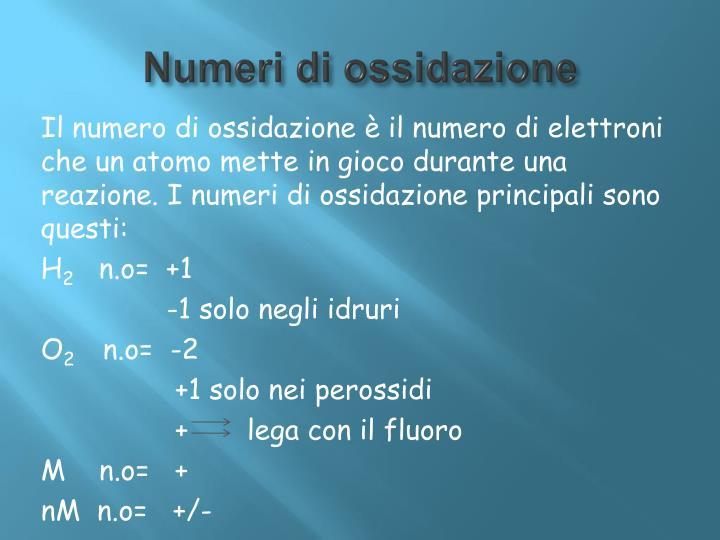 Numeri di ossidazione
