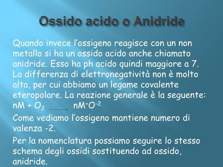 Ossido acido o Anidride