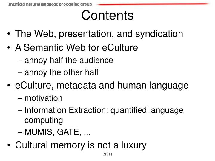 The Web, presentation, and syndication