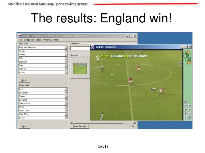 The results: England win!