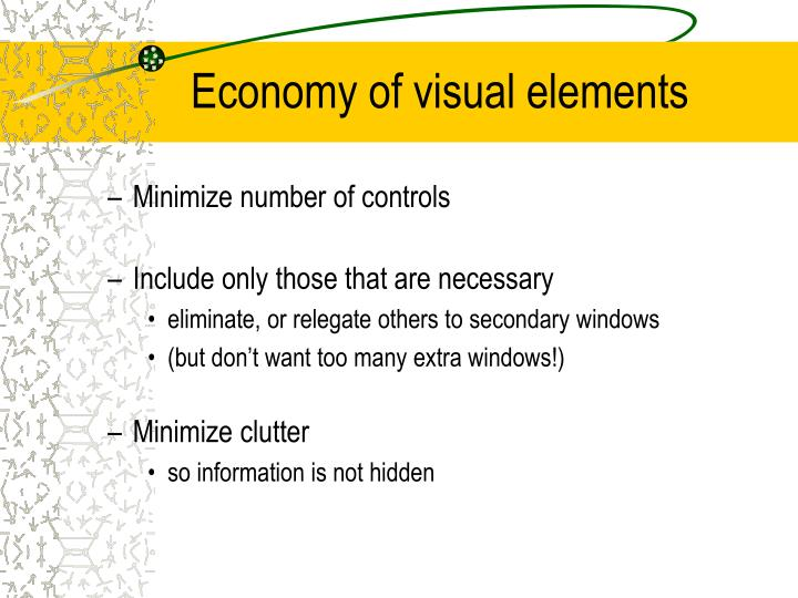 Economy of visual elements