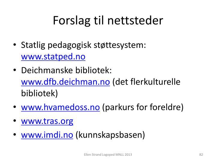 Forslag til nettsteder