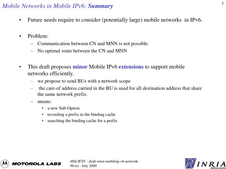Mobile Networks in Mobile IPv6: