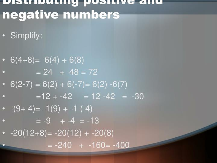 Distributing positive and negative numbers