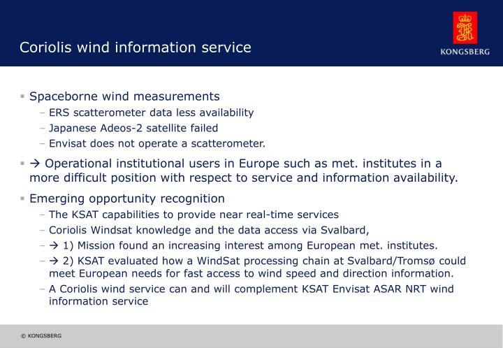 Coriolis wind information service