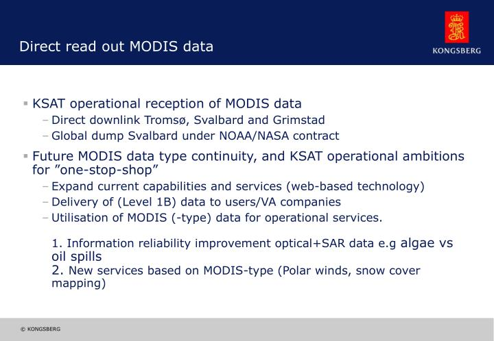 Direct read out MODIS data