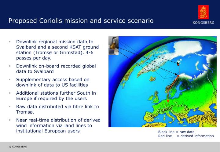 Proposed Coriolis mission and service scenario