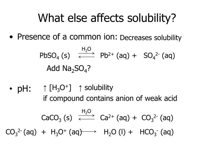 What else affects solubility?