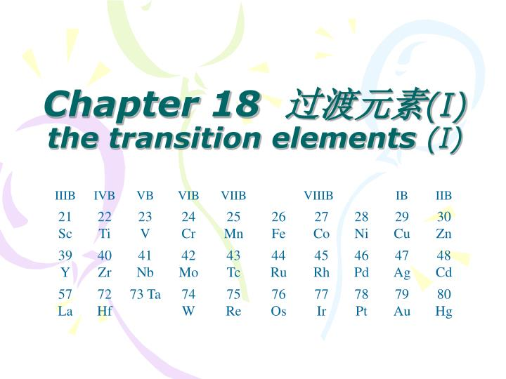 Chapter 18 i the transition elements i