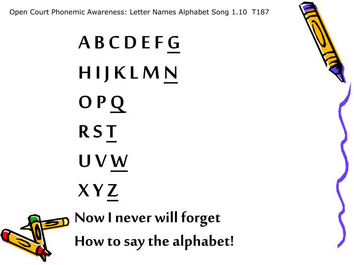 Open Court Phonemic Awareness: Letter Names Alphabet Song 1.10  T187