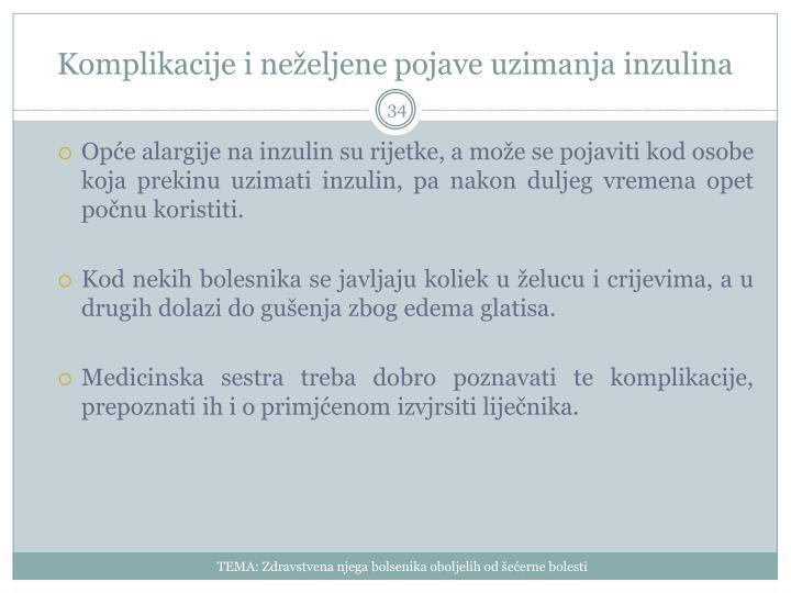 Komplikacije i neželjene pojave uzimanja inzulina