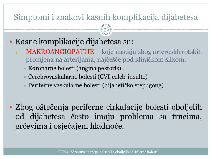 Simptomi i znakovi kasnih komplikacija dijabetesa