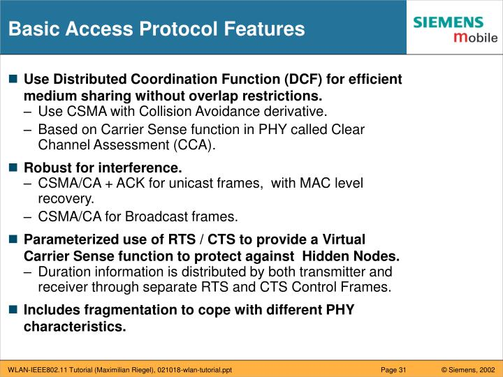 Basic Access Protocol Features