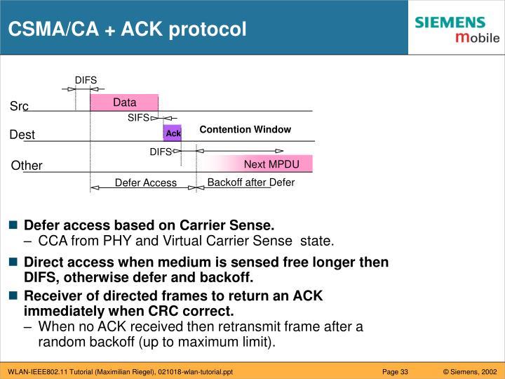 CSMA/CA + ACK protocol