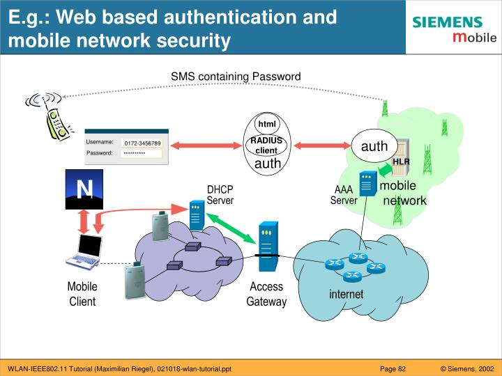 E.g.: Web based authentication and mobile network security
