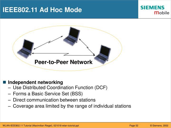 IEEE802.11 Ad Hoc Mode