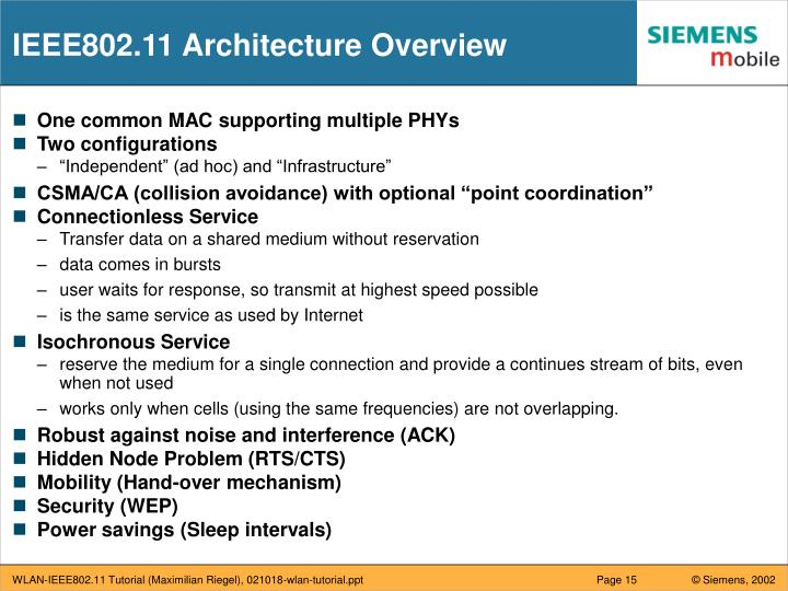 IEEE802.11 Architecture Overview