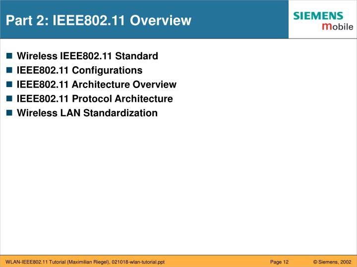 Part 2: IEEE802.11 Overview