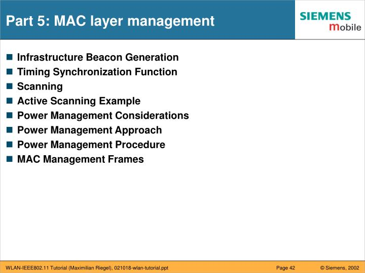 Part 5: MAC layer management