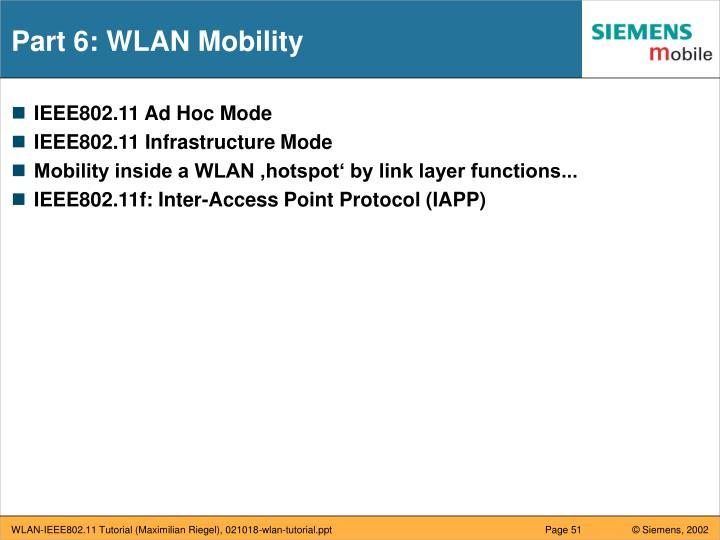 Part 6: WLAN Mobility